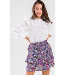 becc tiered floral mini skirt - navy