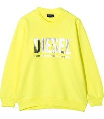 diesel yellow sweater with frontal metallic logo