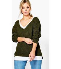 plus oversized v neck sweater, khaki