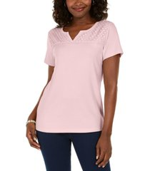 karen scott petite crochet keyhole top, created for macy's