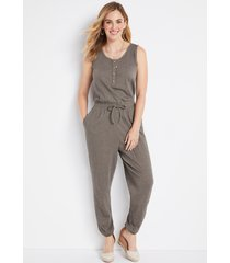 maurices womens olive button front jumpsuit blue