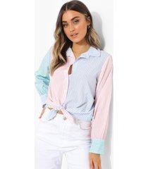pastel gestreepte colour block blouse, powder blue