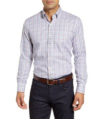 men's peter millar freeman park tattersall button-down shirt, size small - purple