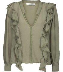 blouse met ruches pouline  groen