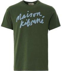 maison kitsune handwriting classic t-shirt   khaki   113kj008-khk