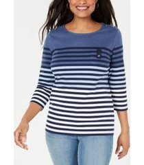 karen scott petite striped colorblocked top, created for macy's