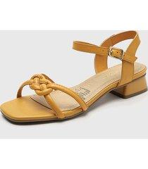 sandalia cuero amarillo bottero