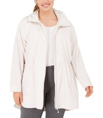 ideology plus size hooded longline rain jacket, created for macy's