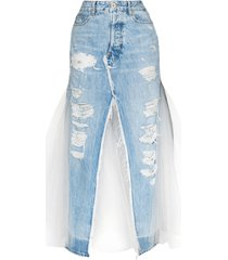 unravel project distressed panelled denim skirt - blue