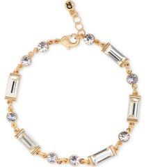 rachel rachel roy gold-tone round & baguette-crystal flex bracelet