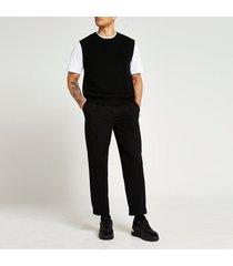 river island mens black twill tapered fit pants
