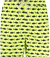 mc2 saint barth shark-print elasticated-waist swim shorts - yellow
