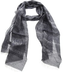 emporio armani grey cotton blend scarf