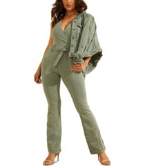 guess sleeveless faux-wrap jumpsuit