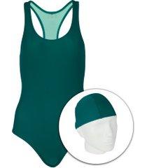 maiô para natação com touca oxer medley - adulto - verde escuro