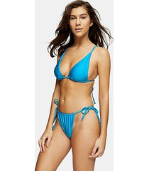 considered shiny high tie bikini bottoms - blue
