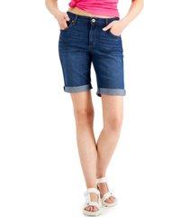 style & co cuffed denim bermuda shorts, created for macy's