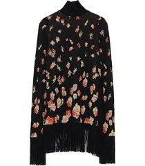 jacquard floral fringe-trim dress