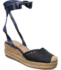 woms sling back sandalette med klack espadrilles blå tamaris