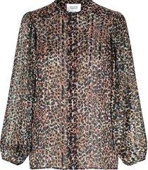 luipaard print blouse met lurex erna  zwart