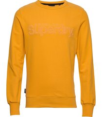 core logo faux suede crew ub sweat-shirt tröja gul superdry