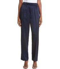women's rebecca taylor satin pull-on pants, size medium - blue