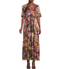 kobi halperin women's noa embellished floral peasant dress - black multi - size xs