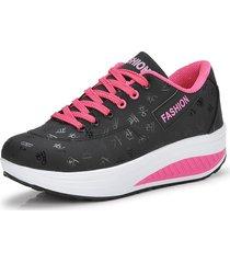 mujeres cuñas zapatillas de deporte plataforma pu cuero zapatos deportivos