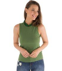 regata malha lasie gola frufru loony jeans - verde - feminino - dafiti