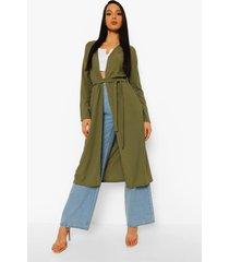 geribbelde duster jas met strik, khaki