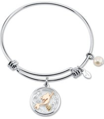 disney's tri-tone crystal little mermaid glass shaker adjustable bangle bracelet in stainless steel for unwritten silver plated charms