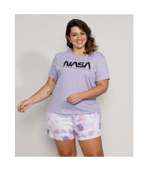 pijama feminino plus size nasa com estampa tie dye manga curta lilás
