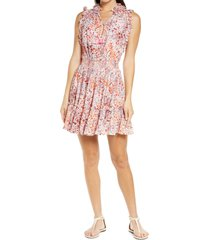 women's poupette st barth floral print ruffle cover-up dress, size x-small - pink