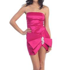 sexy strapless maria bonita short party prom dress w/rhinestone ribbon accent