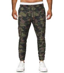 hombres moda camuflaje imprimir jogger con múltiples bolsillos con cordón pantalones