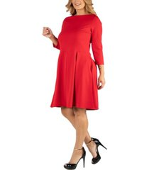 24seven comfort apparel knee length fit n flare plus size dress with pockets