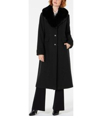 vince camuto single-breasted coat with faux-fur-collar