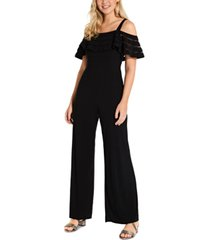 adrianna papell illusion-striped cold-shoulder jumpsuit