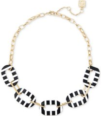 """zenzii gold-tone striped oval link collar necklace, 17"""" + 2-1/2"""" extender"""