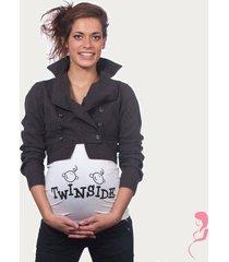 op en top zwanger zwangerschaps buikband twins inside wit