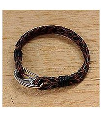 leather wristband bracelet, 'braided couple in brown' (thailand)