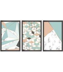 conjunto kit 3 quadro oppen house s 60x120cm escandinavo skadi com vidro e moldura preta      quadro oppen house s decorativos - preto - dafiti