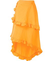 clube bossa feine midi skirt - orange