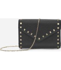 valentino garavani rockstud leather wallet with chain