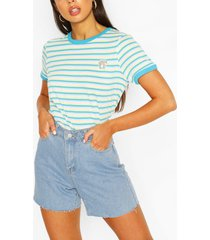 pocket print stripe ringer t-shirt, aqua