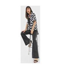 kimono amber poá preto/branco