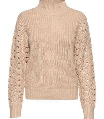 high collar pointelle knit turtleneck polotröja beige ivyrevel