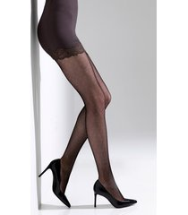 natori bristles shine net tights, women's, black, size xl natori