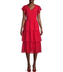 julia jordan women's textured flutter-sleeve tiered dress - red - size 10