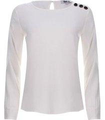 blusa botones en hombro color blanco, talla 6